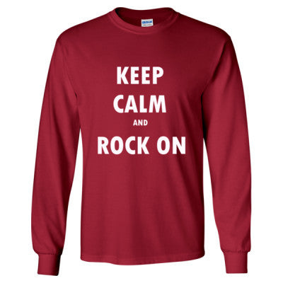 Keep Calm And Rock On - Long Sleeve T-Shirt S-Cardinal Red- Cool Jerseys - 1