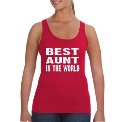 Best Aunt In The World - Ladies Tank Top S-Independence Red- Cool Jerseys - 1