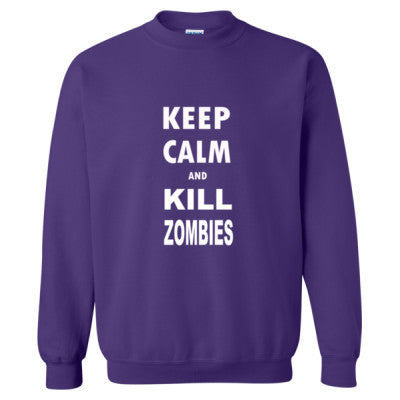 Keep Calm And Kill Zombies - Heavy Blend™ Crewneck Sweatshirt S-Purple- Cool Jerseys - 1