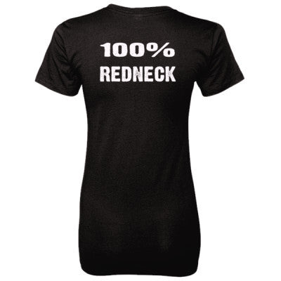 100% Redneck tshirt - Ladies' 100% Ringspun Cotton nano-T® Back Print Only S-Black- Cool Jerseys - 1