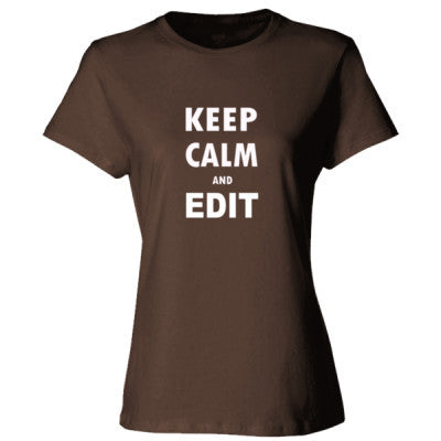 Keep Calm And Edit - Ladies' 100% Ringspun Cotton nano-T® Front and Back Print - Cool Jerseys - 1