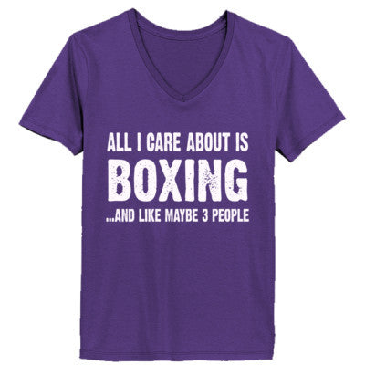 All i Care About Boxing And Like Maybe Three People tshirt - Ladies' V-Neck T-Shirt XS-Purple- Cool Jerseys - 1