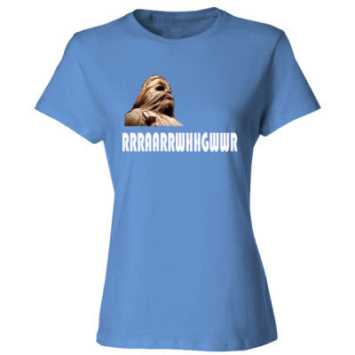 Chewbacca from Star Wars - Ladies' Cotton T-Shirt S-Carolina Blue- Cool Jerseys - 1