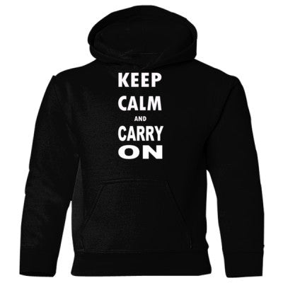 Keep Calm and Carry On - Heavy Blend Children's Hooded Sweatshirt S-Black- Cool Jerseys - 1