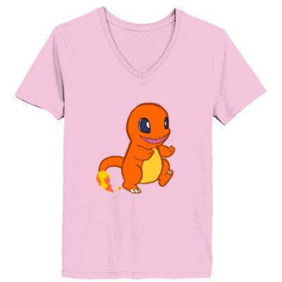 Charmander (Pokemon) Tshirt - Ladies' V-Neck T-Shirt XS-Pale Pink- Cool Jerseys - 1