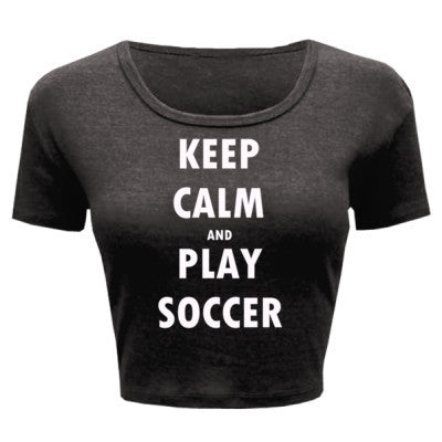 Keep Calm And Play Soccer - Ladies' Crop Top XS/S-Deep Heather- Cool Jerseys - 1