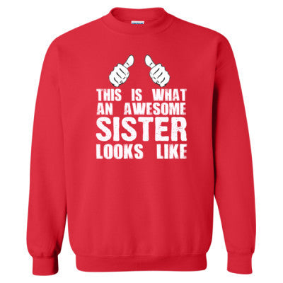 This is What An Awesome Sister Looks Like - Heavy Blend™ Crewneck Sweatshirt S-Red- Cool Jerseys - 1