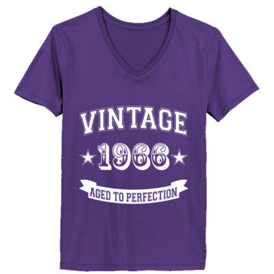 Vintage 1966 Aged To Perfection - Ladies' V-Neck T-Shirt XS-Purple- Cool Jerseys - 1