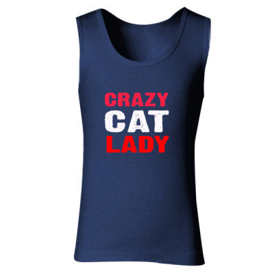 Crazy Cat Lady tshirt - Ladies' Soft Style Tank Top S-Navy- Cool Jerseys - 1