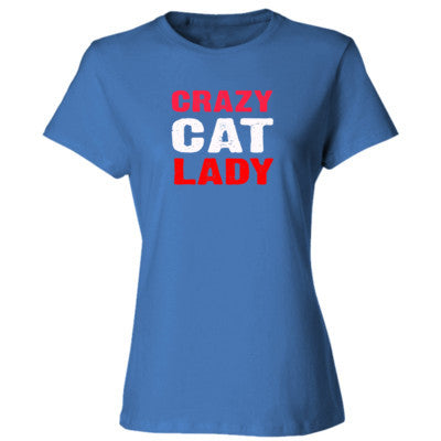 Crazy Cat Lady tshirt - Ladies' Cotton T-Shirt S-Carolina Blue- Cool Jerseys - 1