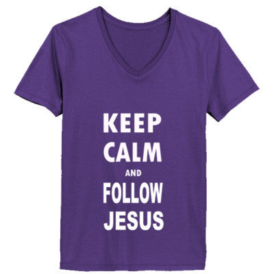 Keep Calm And Follow Jesus - Ladies' V-Neck T-Shirt - Cool Jerseys - 1