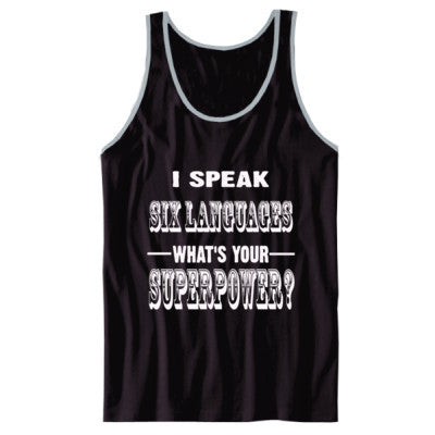 I Speak Six Languages - Unisex Jersey Tank XS-Black- Cool Jerseys - 1