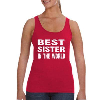 Best Sister In The World - Ladies Tank Top S-Independence Red- Cool Jerseys - 1