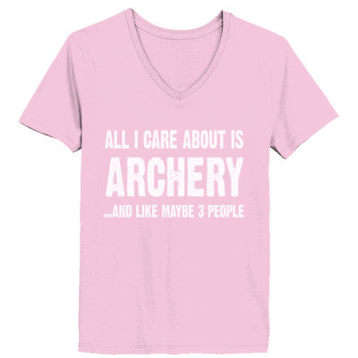 All i Care About Is Archery And Like Maybe Three People tshirt - Ladies' V-Neck T-Shirt XS-Pale Pink- Cool Jerseys - 1