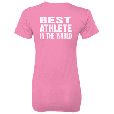 Best Athlete In The World - Ladies' 100% Ringspun Cotton nano-T® Back Print Only S-Pink- Cool Jerseys - 1