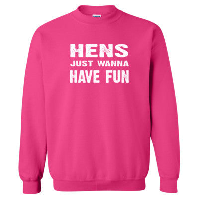 Hens Just Wanna Have Fun Tshirt - Heavy Blend™ Crewneck Sweatshirt S-Heliconia- Cool Jerseys - 1