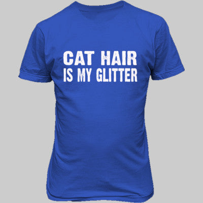 Cat Hair is my glitter tshirt - Unisex T-Shirt FRONT Print S-Antique Royal- Cool Jerseys - 1