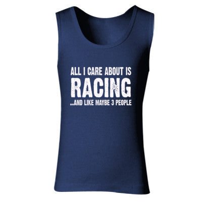 All i Care About Racing And Like Maybe Three People tshirt - Ladies' Soft Style Tank Top S-Navy- Cool Jerseys - 1