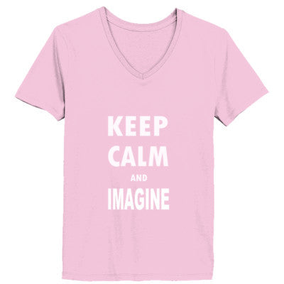 Keep Calm And Imagine - Ladies' V-Neck T-Shirt XS-Pale Pink- Cool Jerseys - 1
