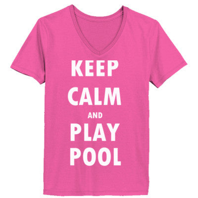 Keep Calm And Play Pool - Ladies' V-Neck T-Shirt - Cool Jerseys - 1