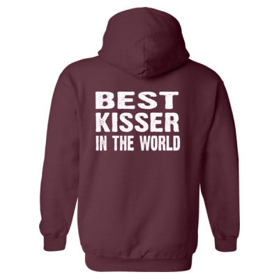 Best Kisser In The World - Heavy Blend™ Hooded Sweatshirt BACK ONLY S-Maroon- Cool Jerseys - 1
