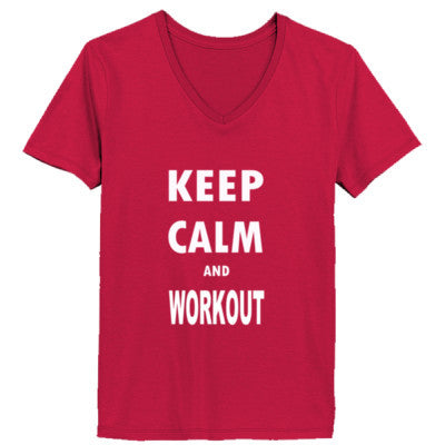 Keep Calm And Workout - Ladies' V-Neck T-Shirt - Cool Jerseys - 1