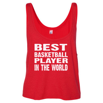 Best Basketball Player In The World - Ladies' Cropped Tank Top S-Red- Cool Jerseys - 1