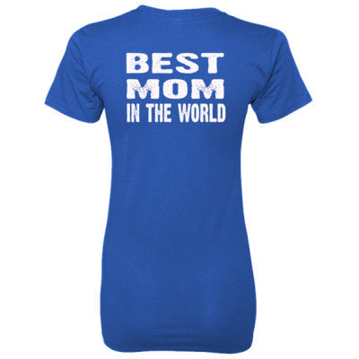 Best Mom In The World - Ladies' 100% Ringspun Cotton nano-T® Back Print Only S-Deep Royal- Cool Jerseys - 1