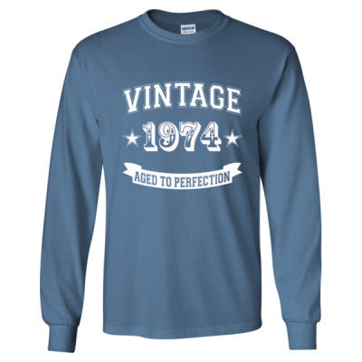 Vintage 1974 Aged To Perfection tshirt - Long Sleeve T-Shirt S-Indigo Blue- Cool Jerseys - 1