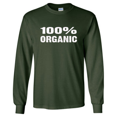 100% Organic tshirt - Long Sleeve T-Shirt S-Forest Green- Cool Jerseys - 1