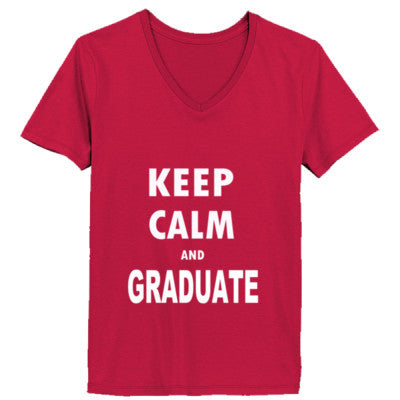Keep Calm And Graduate - Ladies' V-Neck T-Shirt XS-Deep Red- Cool Jerseys - 1