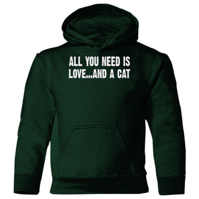 All you need is love and a cat Heavy Blend Children's Hooded Sweatshirt S-Forest Green- Cool Jerseys - 1