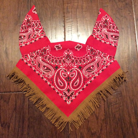 Bandana Bonnet with faux leather fringe- Horse/Cob/Draft sizes