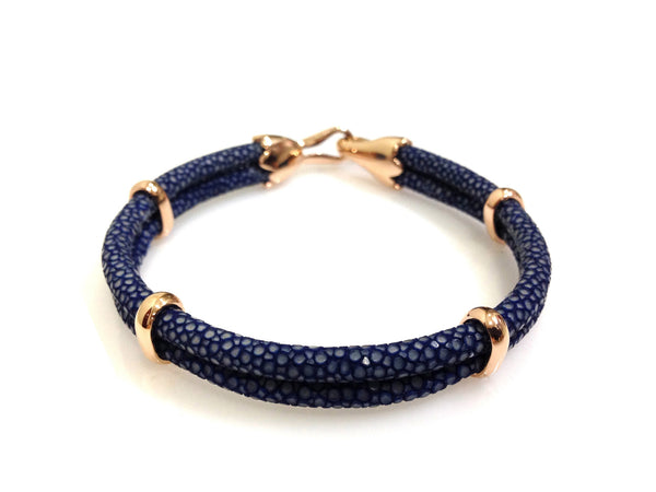 Navy Blue Stingray Leather Bracelet in Rose Gold