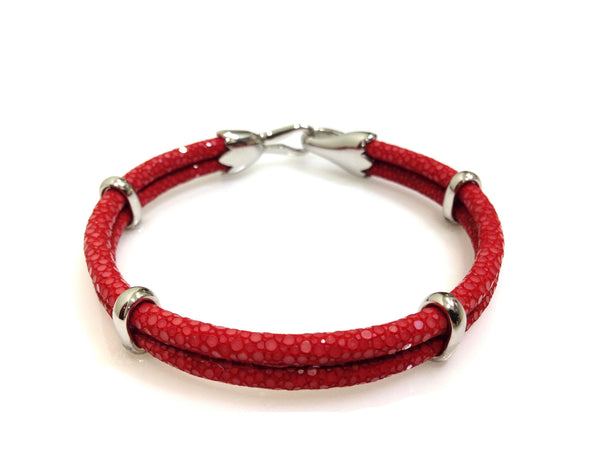 Red Stingray Leather Bracelet in Silver