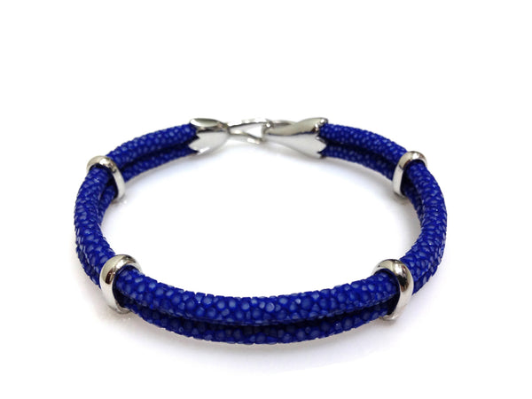 Cobalt Blue Stingray Leather Bracelet in Silver