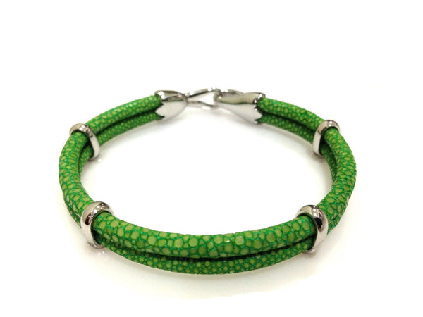Green Stingray Leather Bracelet in Silver