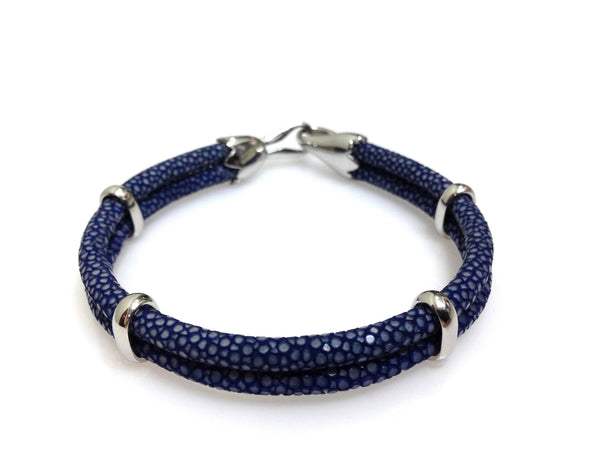 Navy Blue Stingray Leather Bracelet in Silver