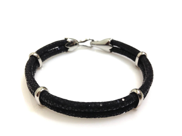 Black Stingray Leather Bracelet in Silver