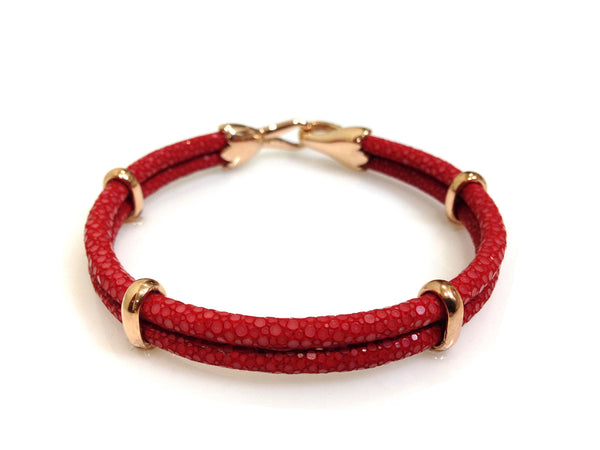 Red Stingray Leather Bracelet in Rose Gold