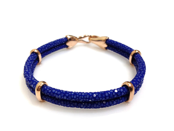 Cobalt Blue Stingray Leather Bracelet in Rose Gold