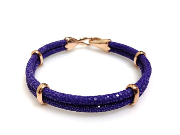 Purple Stingray Leather Bracelet in Rose Gold