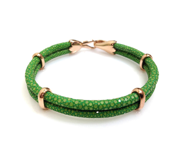 Green Stingray Leather Bracelet in Rose Gold