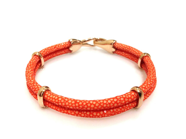Orange Stingray Leather Bracelet in Rose Gold