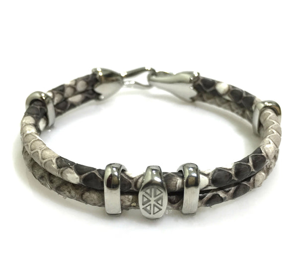 Python Leather Bracelet In Silver - P209