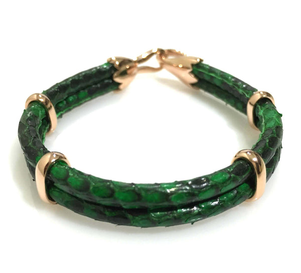 Green Python Leather Bracelet in Rose Gold