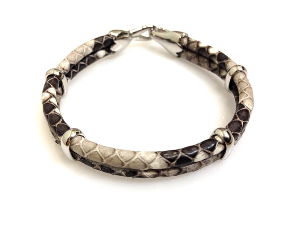 Python Leather Bracelet in Silver