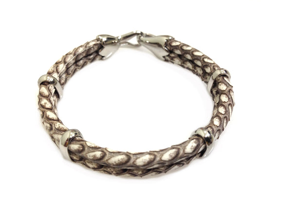 Cobra Leather Bracelet in Silver
