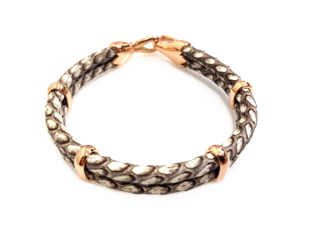 Cobra Leather Bracelet in Rose Gold