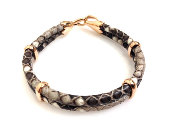Python Leather Bracelet in Rose Gold